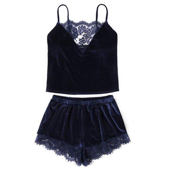Other - Lace Trim Velvet Pajama Set